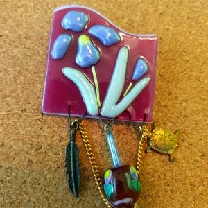 Lampworked Glass with Bead &Charms Brooch